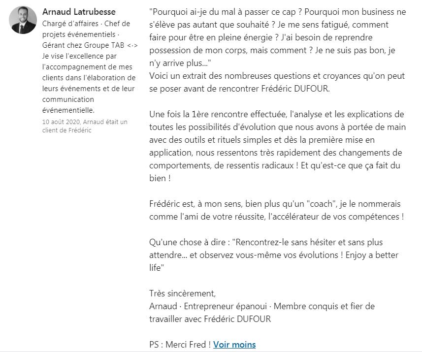Arnaud Linkedin témoignage